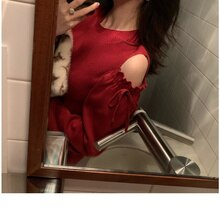 Match with Coat French Retro Button Knitted Red 2020 New Autumn and Winter Bottoming Sweater Little