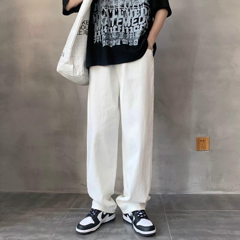 Wide Leg Jeans Men's Fashion Casual Baggy Black/blue/white  Men Streetwear Loose Hip-hop Straight Denim Trousers Mens M-3XL