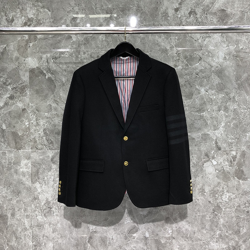 2022 موضة TB THOM ماركة بدلة رسمية الرجال سليم صالح الصوف السترة واحدة الصدر الرجال سترة الذكية عارضة الصوف معطف الشتاء