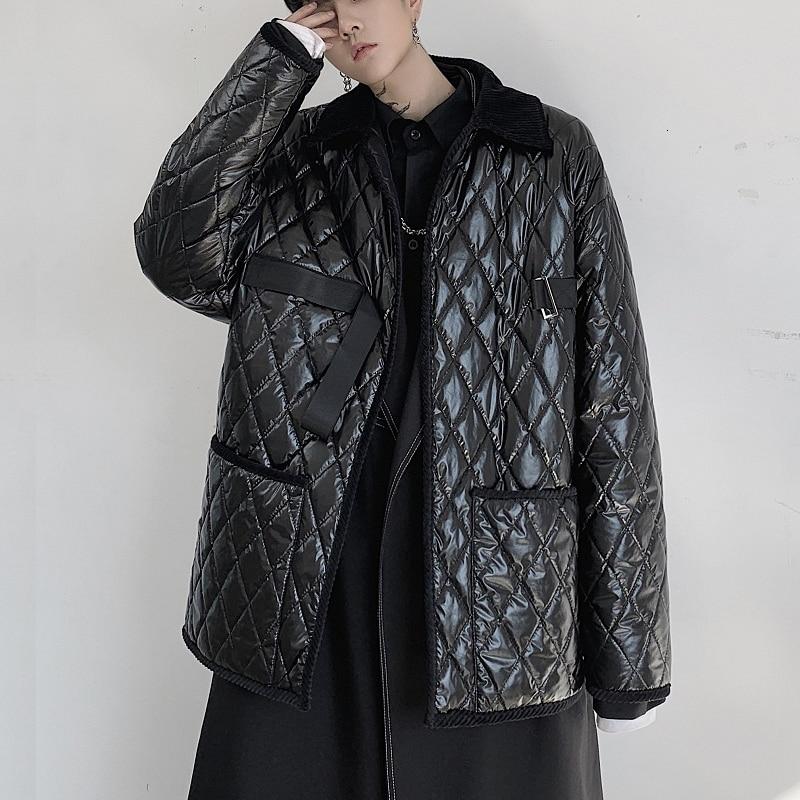 Chaqueta acolchada de algodón a cuadros negra informal para hombre estilo japonés ropa informal suelta cinta gótica de Hip Hop abrigo Parka abrigo Erkek Mont