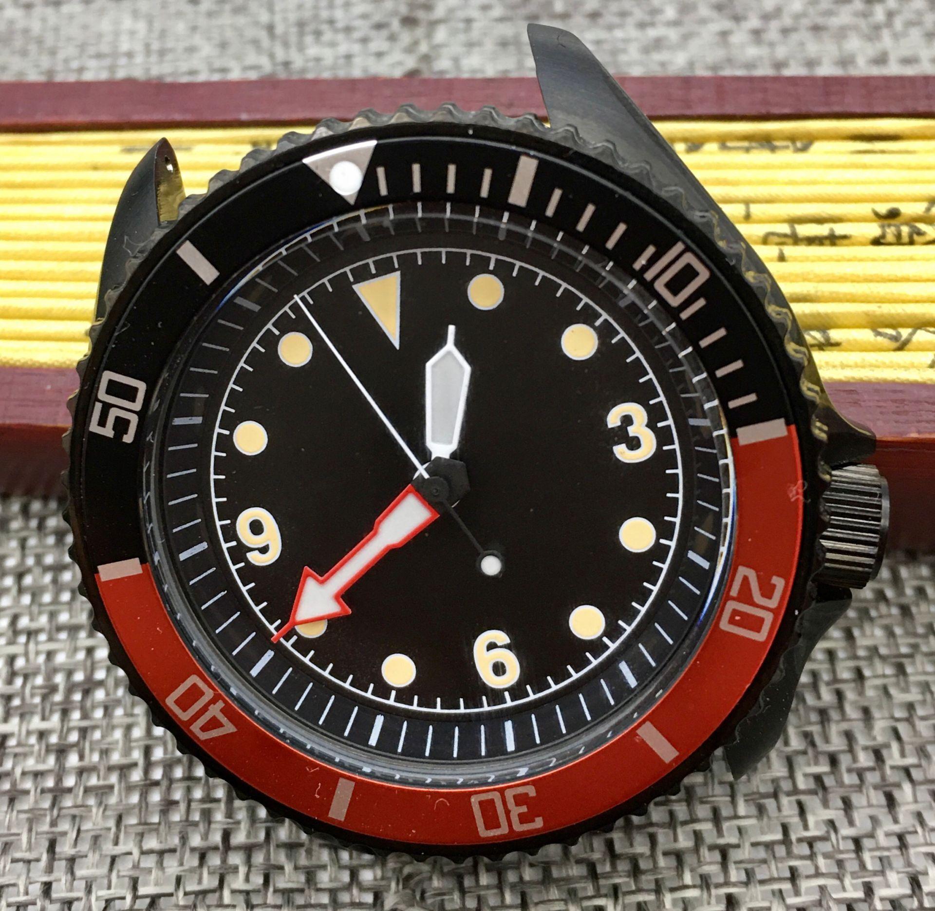 Retro 42mm Black PVD Case Luminous Dial Japanese Movement NH35 Automatic Men's Watch SK007 Mechanical