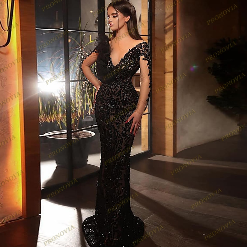 Elegant Mermaid Appliques Long Sleeve Evening Dresses 2020 Black Formal Dress Handmade Flowers Women Gowns