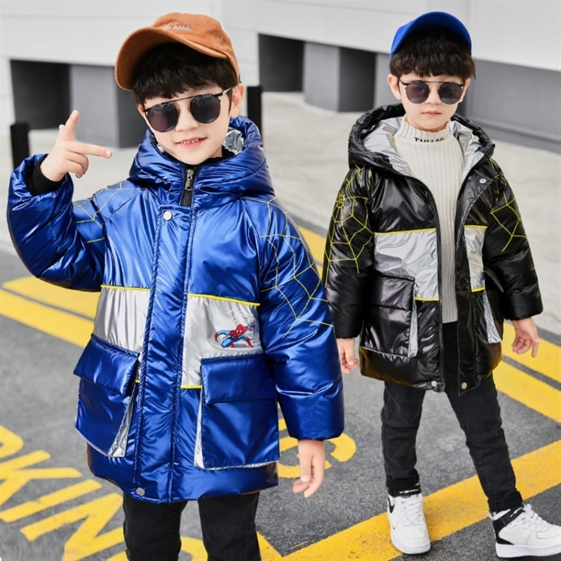 Children's Clothing Boy Cotton-Padded Clothes 2018 Winter New Style Letter Hooded Jackets & Coats Children Cotton-Padded enlarge