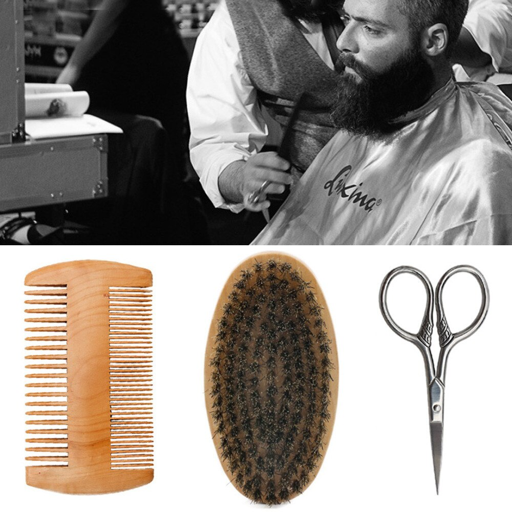 Peines barba Beige cepillo de afeitar barba peine Kit para hombres barba bigote reparación conjunto de cerdas de pelo profesional