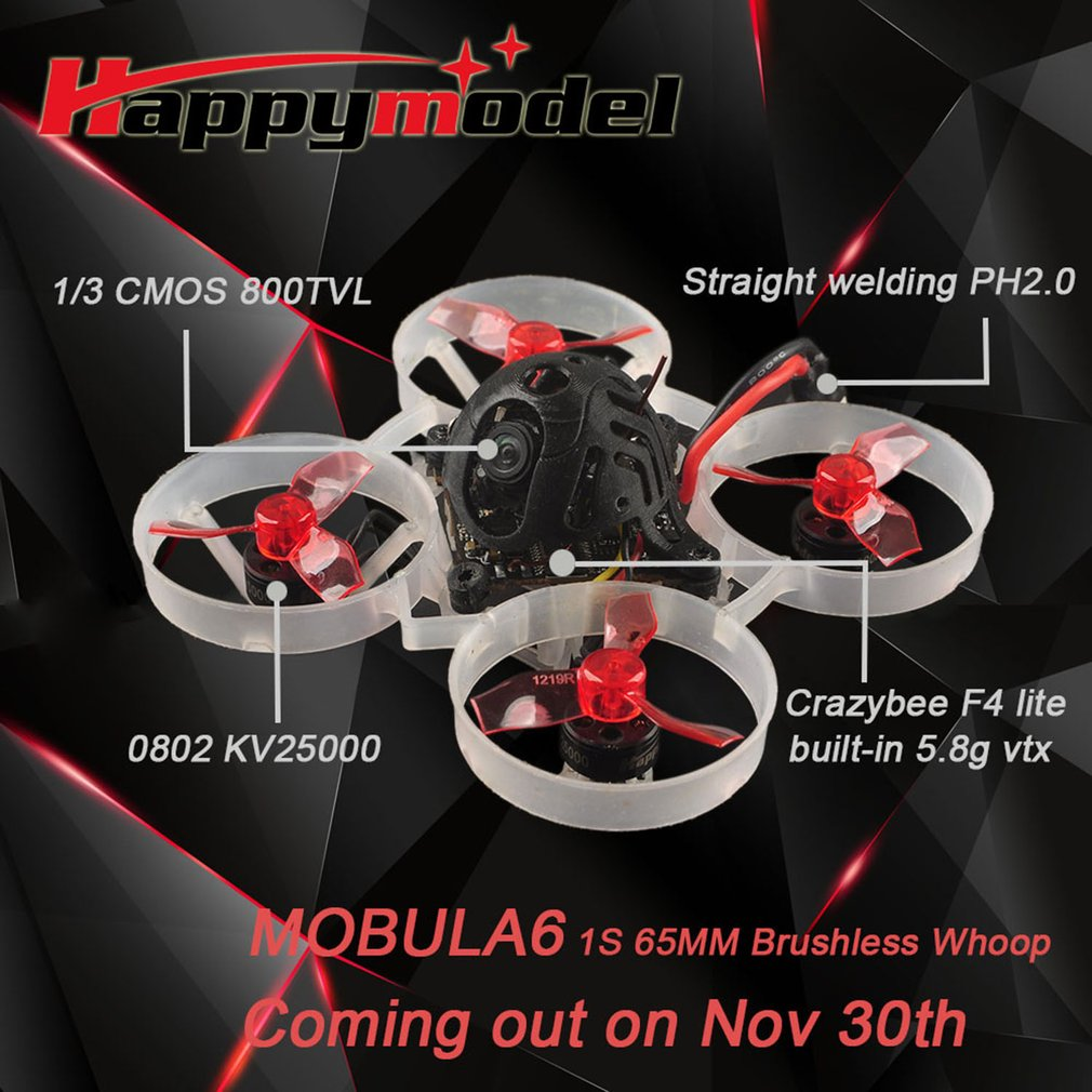 2021 New Mobula6 6 1S 65mm Brushless whoop FPV Racing Drone with 4in1 Crazybee F4 Lite Runcam Nano3 Happymodel enlarge