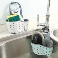 Evier sac suspendu sac de rangement en caoutchouc support de robinet porte-eponge savon reglable etagere de salle de bain accessoires de cuisine fournitures