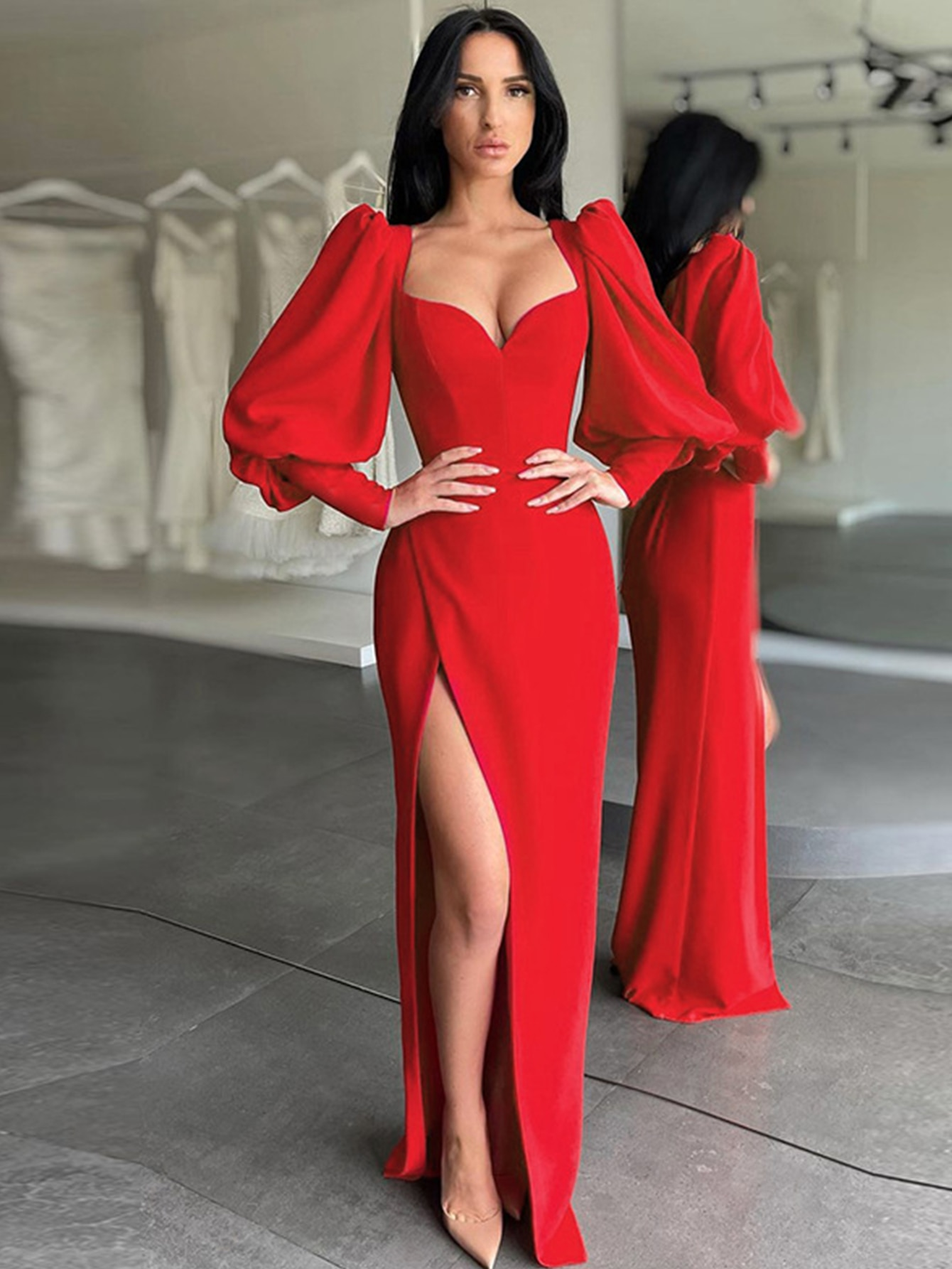 Adyce فستان نسائي طويل شتوي بأكمام واسعة وفانوس 2021 مثير بياقة على شكل V ملابس النادي فساتين عصرية للمشاهير للحفلات المسائية