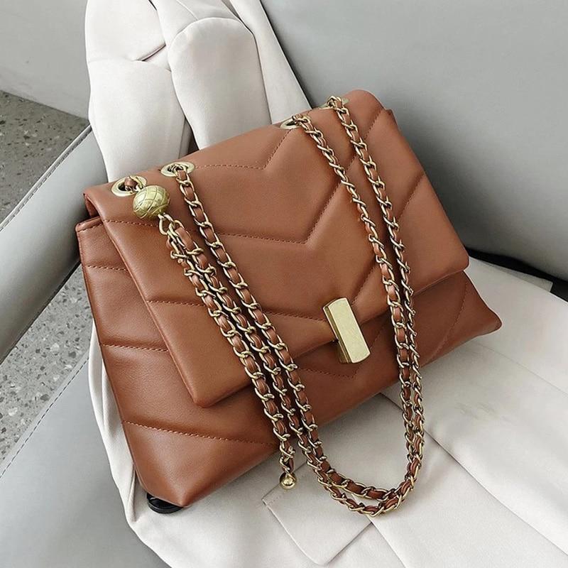 V-shaped Stripes PU Leather Chain Shoulder CrossBody Bags for Women 2021 Designer Women's Bags Trend Handbags Branded Sac A Main