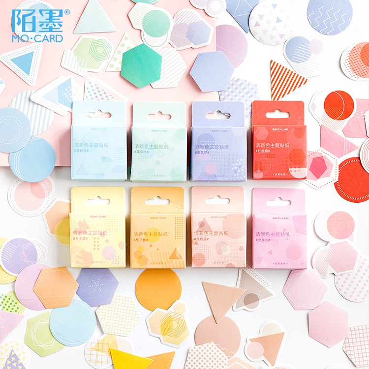 46 unids/pack sueño color romántico etiqueta pegatinas decorativa de papelería pegatinas Scrapbooking tachuela DIY diario palo etiqueta