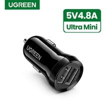 Ugreen-Mini cargador USB para coche, adaptador de carga rápida para teléfono móvil, tableta, GPS, 4.8A