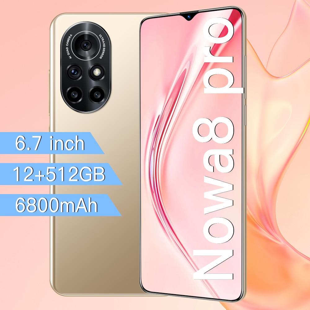 Nowa 8 Pro 6.7 Inch HD Big Screen Smart Phone 6800mAh 12GB RAM 512GB ROM 32MP+50MP Smartphone Unlocked Dual Sim Mobile Phone