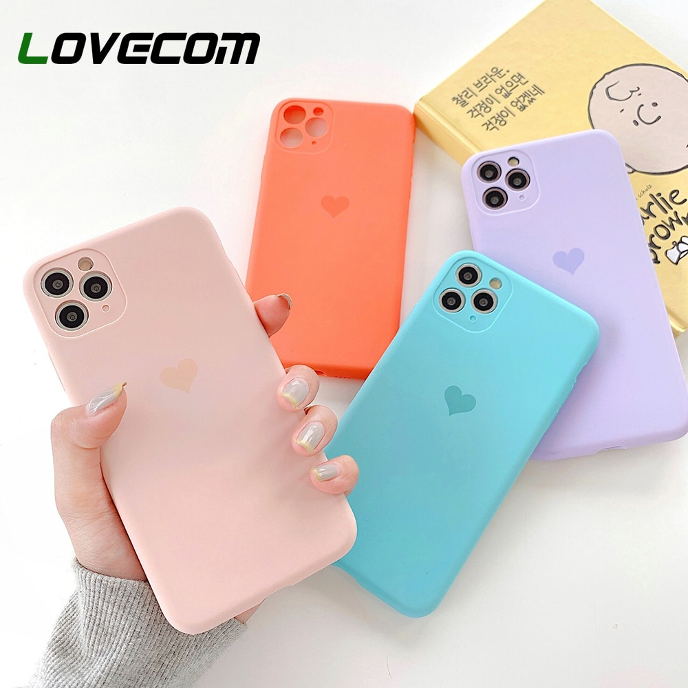 LOVECOM, funda de teléfono de protección de cámara de corazón para iPhone 11 Pro Max XR X XS Max 7 8 Plus, funda de teléfono de silicona blanda de Color sólido