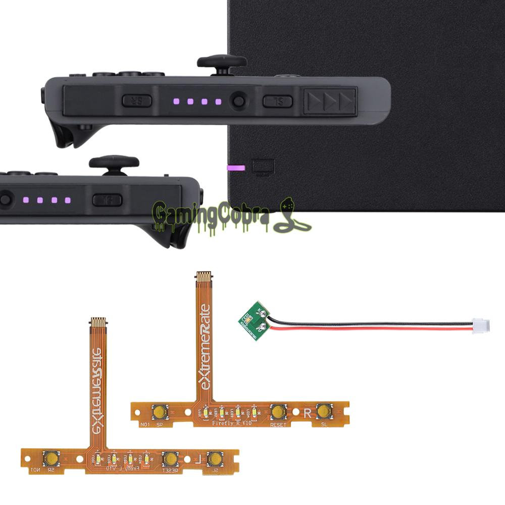 Kit de sintonización LED luciérnaga violeta para interruptor NS Joycons Dock NS Joycon SL botones cinta Flex Cable indica alimentación LED