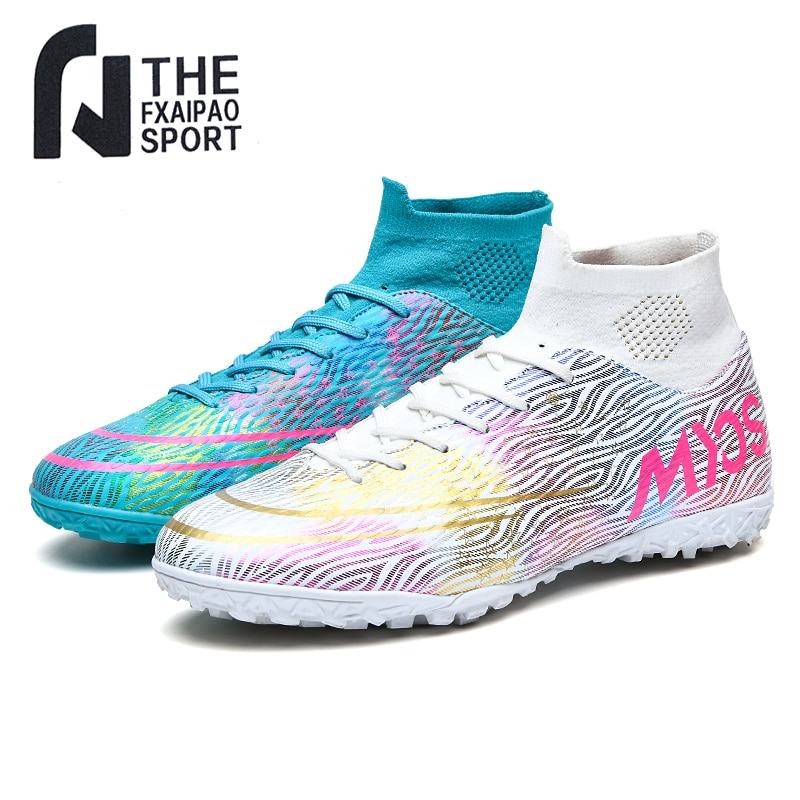 Men's Soccer Shoes Teenager Breathable Sneakers Grass Training Sports Shoes FG / TF High Ankle Cleats Antiskid Football Boots
