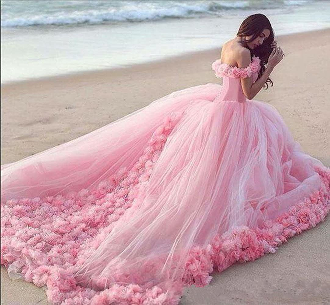 Off Shoulder Quinceanera Sweet 16 Dress Masquerade Pink Ball Gown Handmade Floral Vestido De Festa Debutante Gowns Evening Party