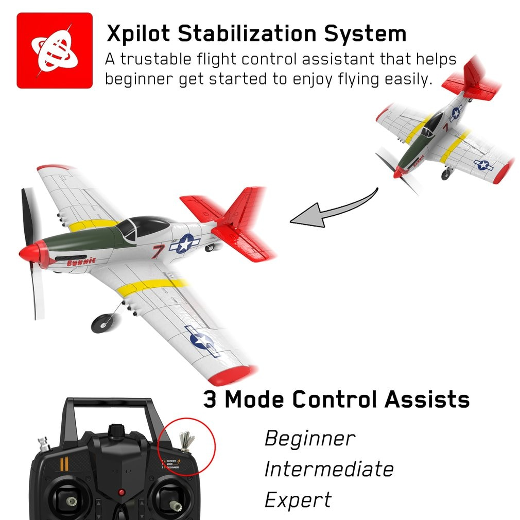 Eachine Mini P-51D EPP 400mm Wingspan 2.4G 6-Axis Remote Control RC Airplane Trainer Fixed Wing RTF One Key Return for Beginner enlarge