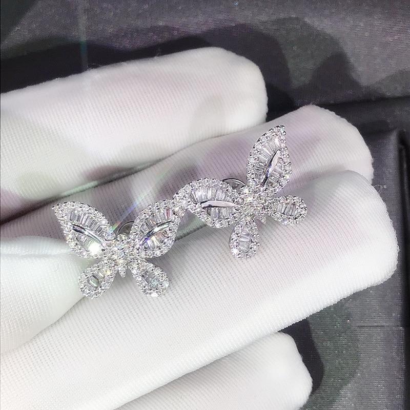 Bonitos pendientes de mariposa de plata con piedra de circón brillante para mujer joyería de moda pendientes coreanos 925 Color de plata de ley