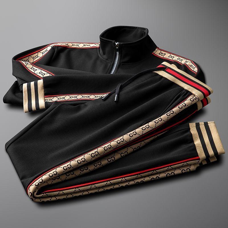 Luz de luxo masculino e feminino mesmo preto gola esportes terno masculino magro outono nova tendência lazer conjunto de duas peças
