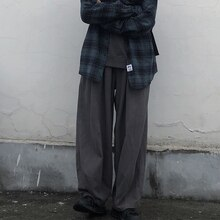 INS Trendy Men's Japanese Retro Easy Matching Harajuku Hongkong Style Loose BF Casual Wide Leg Pants