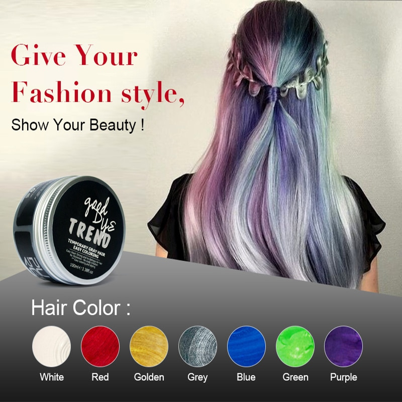 PURC 100ml Temporäre Haar Dye Einweg Mode Molding Färbung Schlamm Creme Grau Rot Grau Weiß Gelb Grün Blau Haar farbe Wachs
