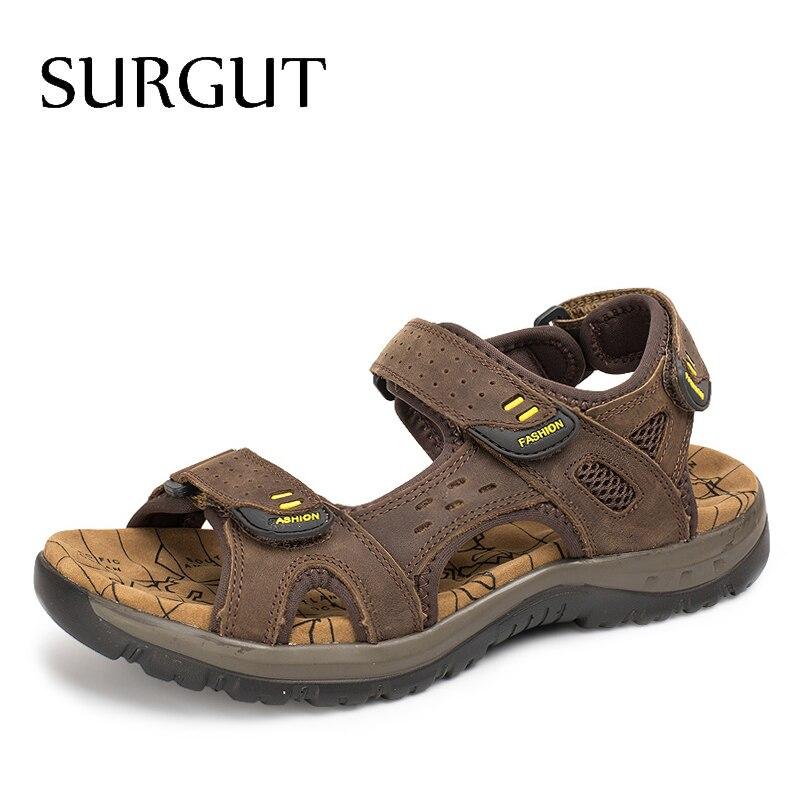 SURGUT-صندل كاجوال من الجلد الطبيعي للرجال ، أحذية صيفية ، أوقات الفراغ ، شاطئ ، جلد طبيعي ، 2021
