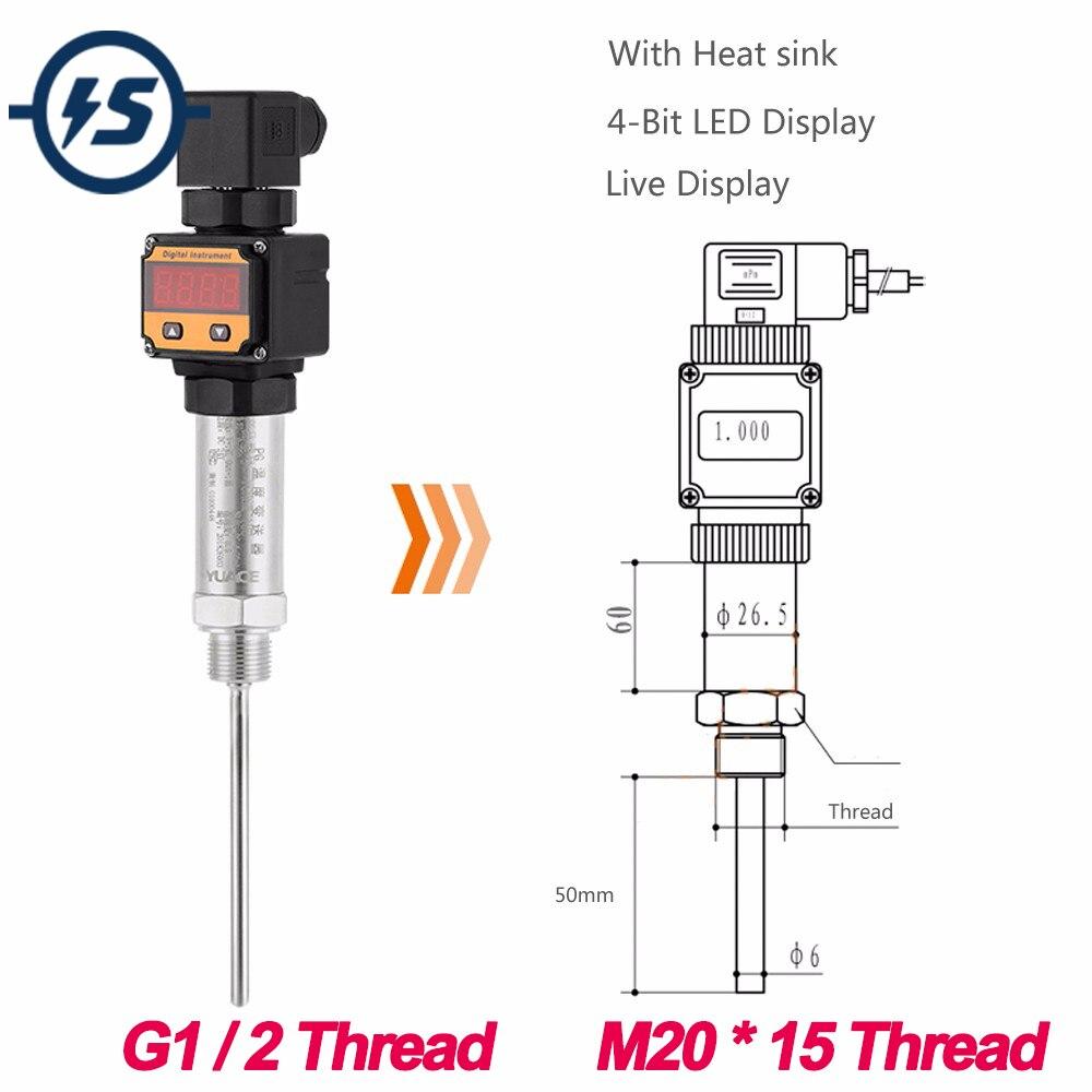 Módulo de Sensor PT100 Tipo de enchufe 4-20mA G1/2 Rosca/M20 * 15 pantalla LED integrada transmisor de temperatura 24V CC 0-600 Celuis