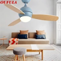 oufula modern ceiling fan lights with wooden fan blade remote control decorative for home living room bedroom restaurant