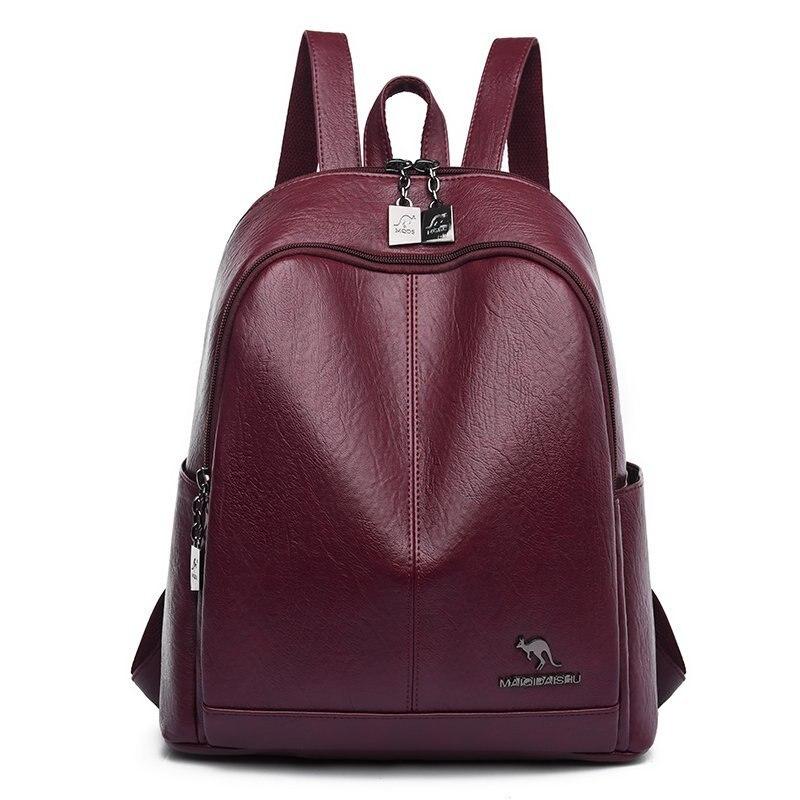 Женские кожаные рюкзаки с большой емкостью, винтажные школьные сумки для девочек, женские повседневные Рюкзаки, новинка