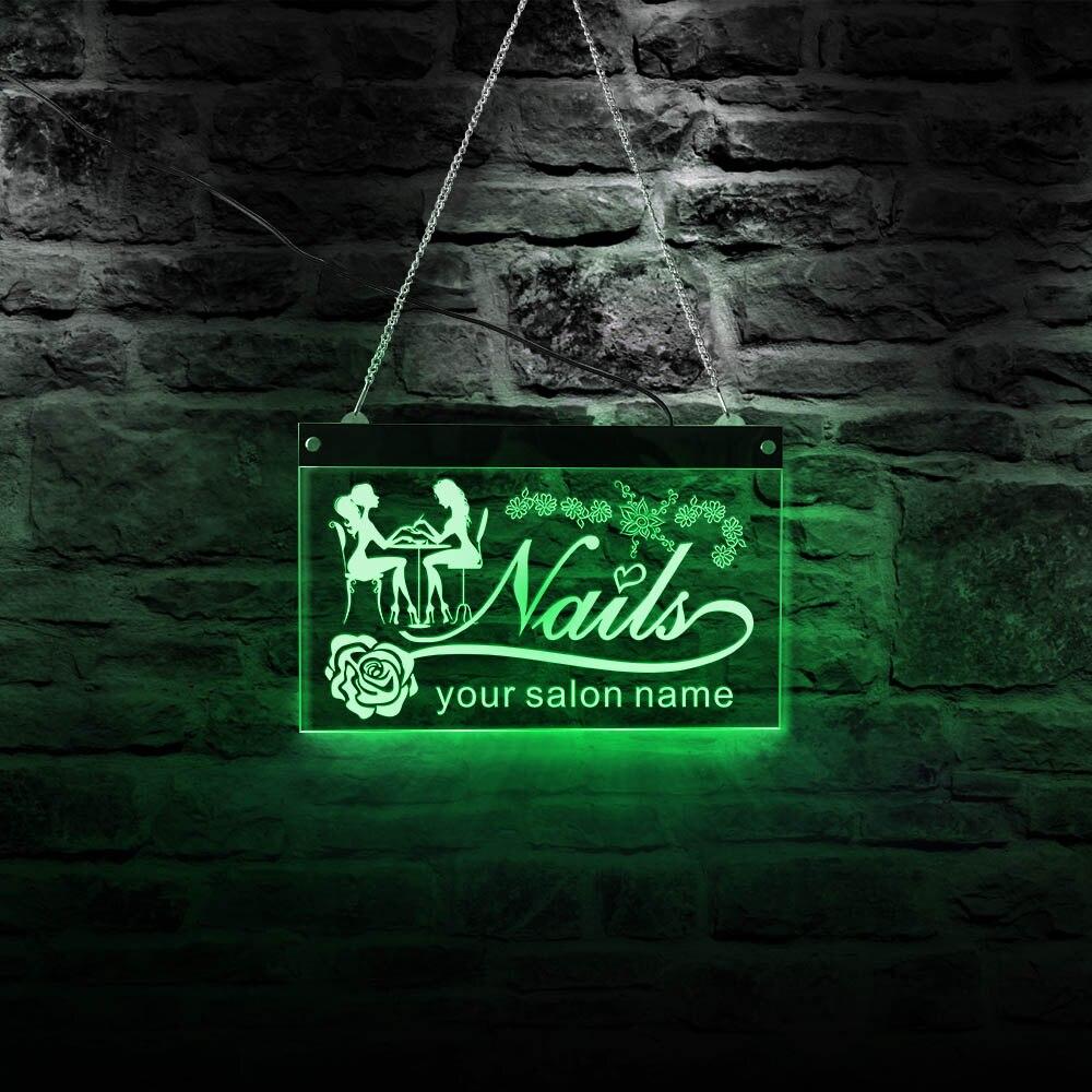 صالون تجميل ضوء النيون تسجيل مسمار استوديو متجر Led شعار مخصص متعدد الألوان جدار ديكور يعرض فتح لوحة إعلانات غرفة نوم