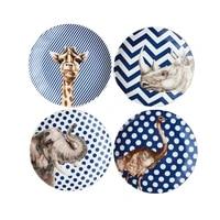 creative ceramic plate sets with animal deer african grassland print tableware porcelain cake dinner plate sets dessert tray