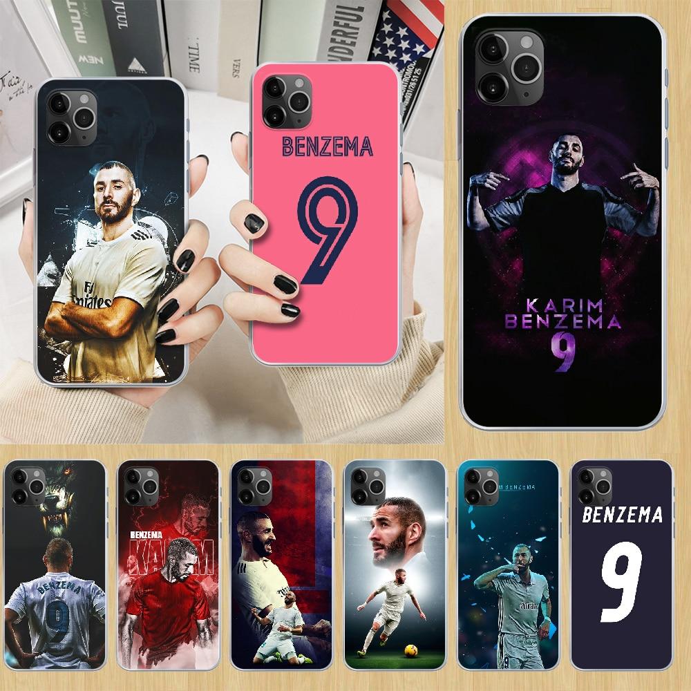 Karim benzema futebol futebol caso do telefone capa para o iphone 5 5S 6s plus 7 8 12 mini x xr xs 11 pro se 2020 max transparente