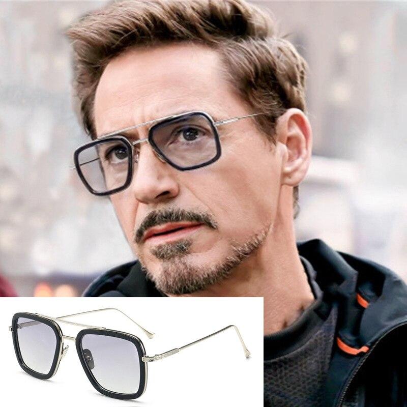 Lujo Steampunk vengadores Tony Stark vuelo estilo hombre gafas de sol hombres cuadrado Marca Diseño gafas de sol Oculos Retro hombre iron Man