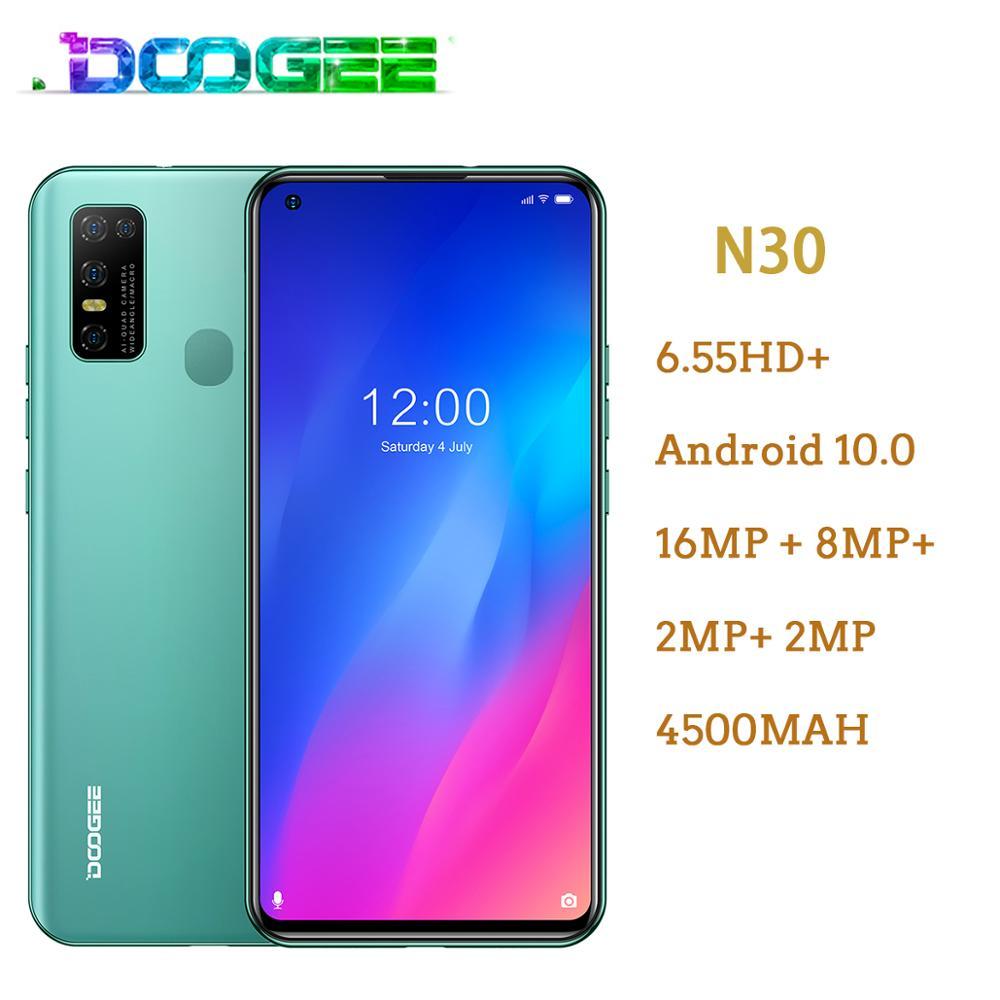 Doogee N30 Android 10 Мобильный телефон 6,55 дюйм HD + экран смартфон 4180 мАч 16MP Quad задние камеры Full Netcom MT6762V 4 Гб 128 ГБ