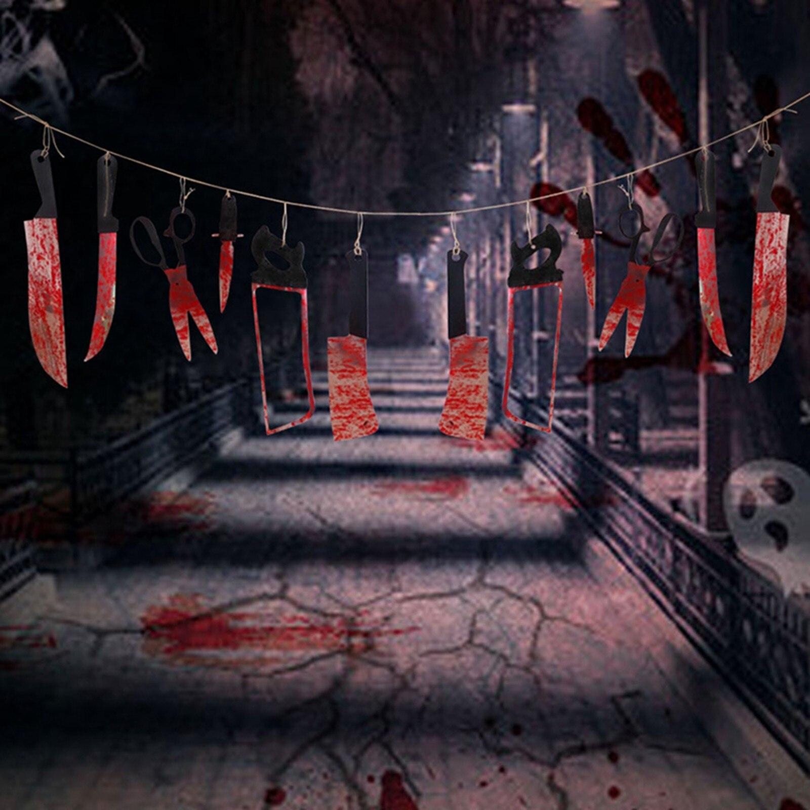 Бумажные баннеры на Хэллоуин, кровавые подвесные украшения, режущий инструмент, баннеры, флаги, вечеринка на Хэллоуин, поставка 2019