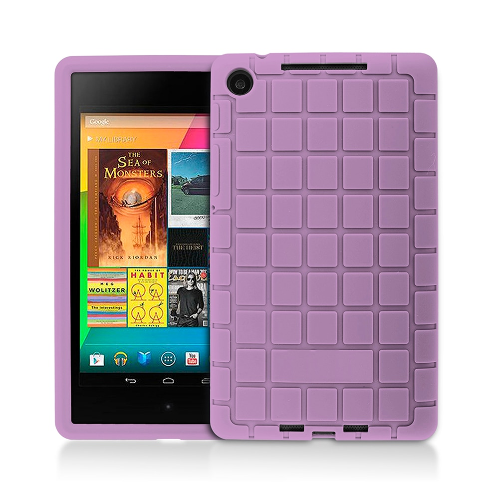 protective rotation pu leather case for google nexus 7 purple For Google Nexus 7 2nd 2013 Eco Soft Silicone  Case for ASUS 7 Gen II Protective Shell Skin Cover