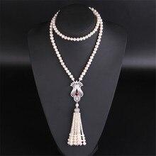 YKNRBPH S925 en argent Sterling longue perle collier femmes automne cadeau de mariage bijoux fins perles chandail chaînes