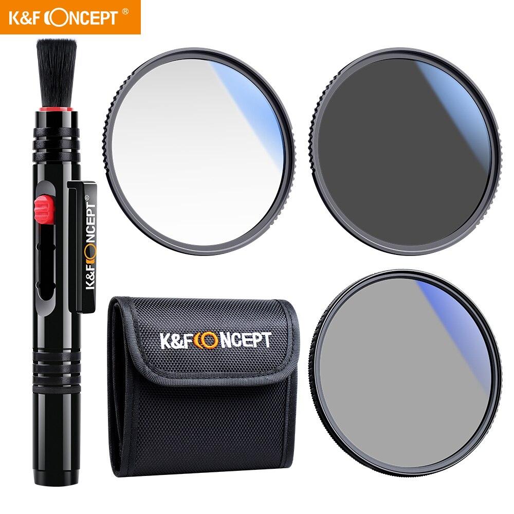K & F مفهوم UV + CPL + ND4 سليم عدسة تصفية عدة ل Nik كانون سوني جميع 82 مللي متر DSLR عدسة الكاميرا مع تصفية الحقيبة و عدسة تنظيف القلم