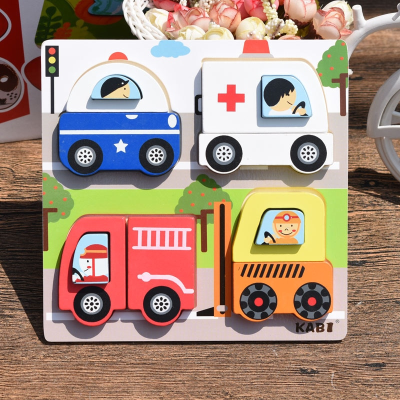 Montessori Wooden Toy 3D Jigsaw Bar Puzzles Children's Creative Story Stacking Matching Puzzle Early Educational Toys