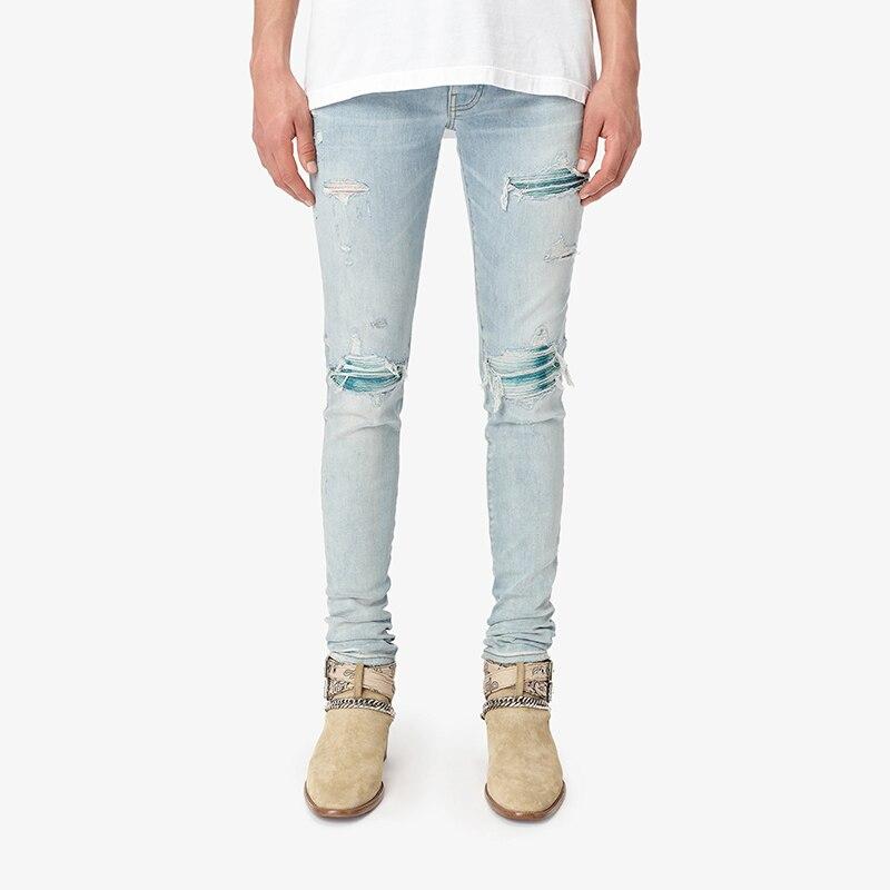 American Street Style Fashion Men Jeans Retro Light Blue Elastic Slim Ripped Jeans Men Patch Designer Hip Hop Denim Punk Pants
