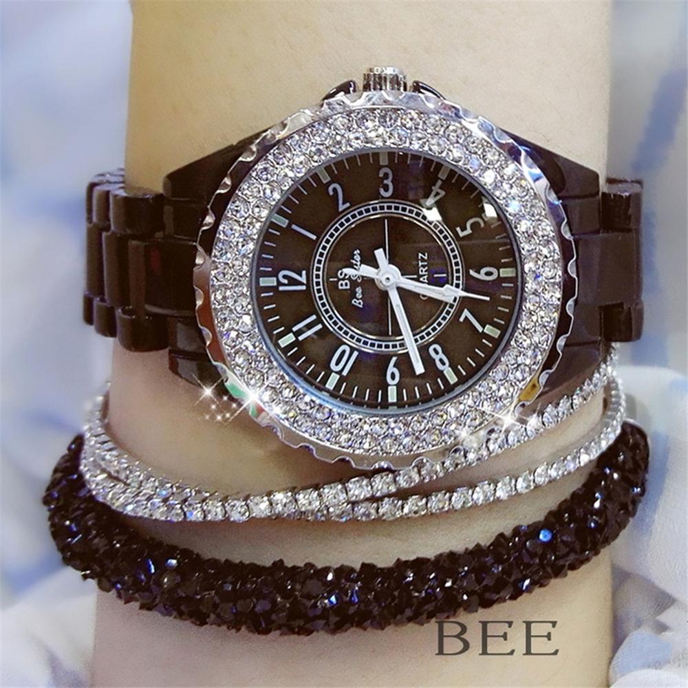 2020 White Ceramic Ladies Watch Quartz Luxury Crystal Wrist watches Women Fashion Quartz Ladies watch Famous for Female relojes enlarge