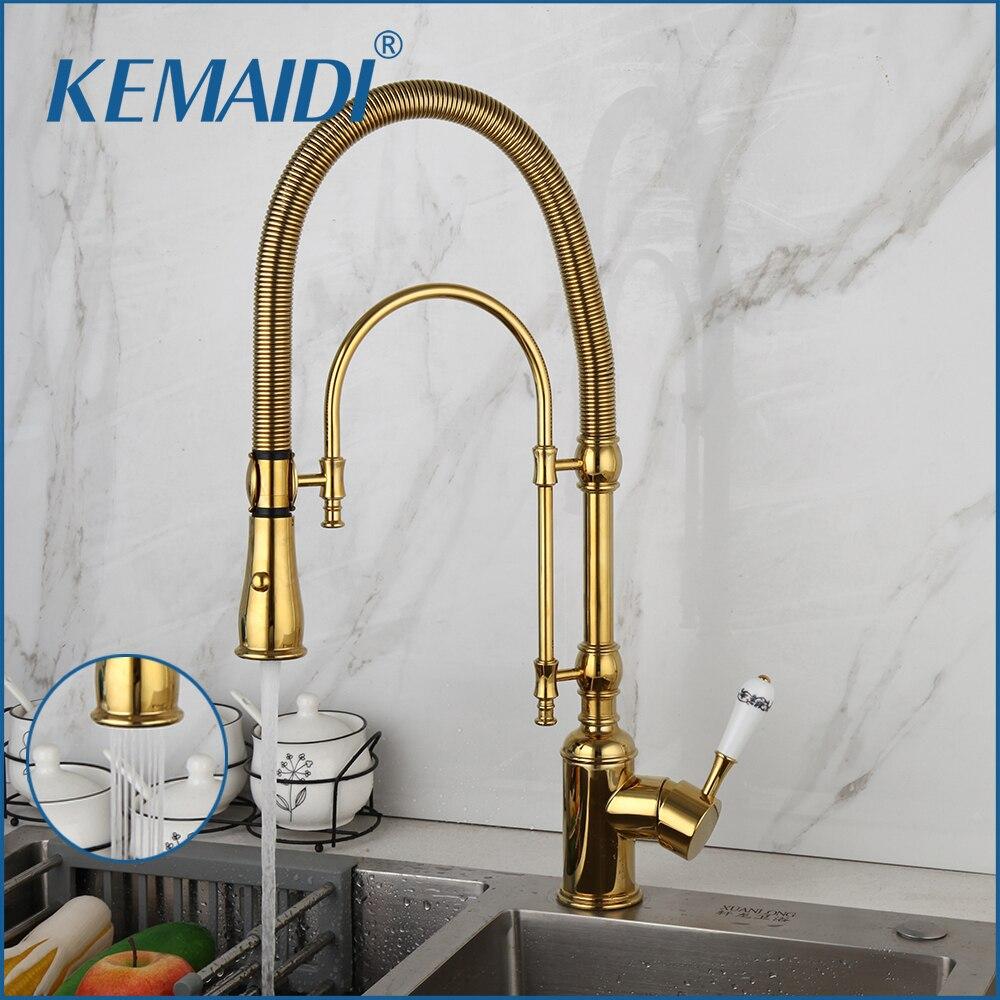 KEMAIDI-صنبور حوض المطبخ يسحب للخارج ، صنبور مياه ساخن وبارد مع صنبور مزدوج مثبت على سطح السفينة