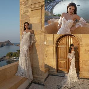Mermaid Wedding Dresses With Long Sleeves 2020 Lace Appliques Sweep Train Beach Wedding Dress Custom Made Western Robe De Soiree