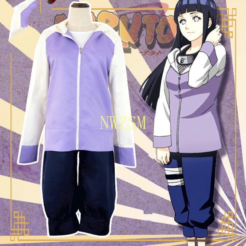 أزياء النساء أنيمي Akatsuki Shippuuden Hinata Hyuga 2nd جيل كامل كومبو مجموعة تأثيري حلي قطعتين (سترة + سروال)