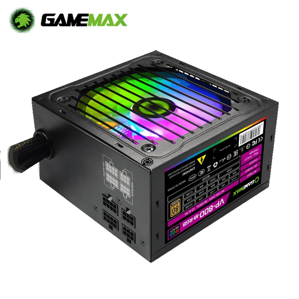 GameMAX امدادات الطاقة RGB PSU صحيح تصنيف 800 واط شبه وحدات 80 زائد البرونزية RGB ATX وحدة امدادات الطاقة للكمبيوتر VP-800-M-RGB