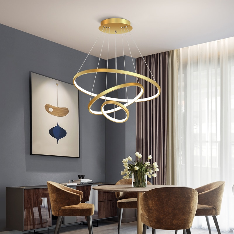 Modern Simplicity Pendant Lights For Living Room Dining Circle Rings lighting Acrylic Aluminum Body LED hanging lamp Fixtures