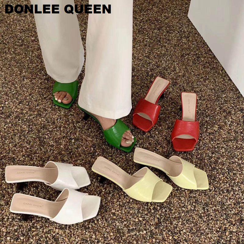 2020 Summer Slippers Women Med Heel Sandals Elegant Mule Shoes Women Brand Slides Slipper Candy Color Flip Flops sandalias mujer