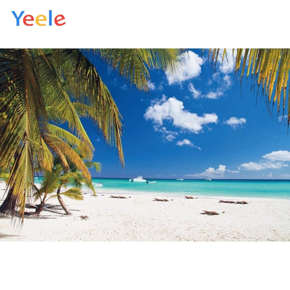 Yeele Photocall Tropical Summer Palm Tree Beach Baby Poster Banner Portrait Photo Backgrounds Photography Backdrops Studio