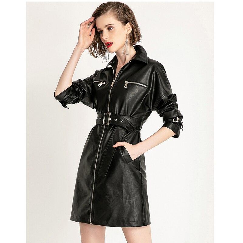 Nerazzurri Spring black leather dress women with many pockets zipper belt long sleeve Autumn elegant midi 2021