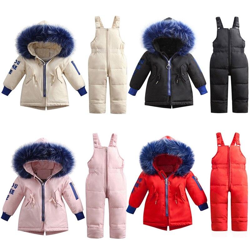 Criança crianças meninas meninos para baixo casaco jaqueta inverno com capuz gola de pele outerwear macacão casacos quente do bebê menino roupas da menina
