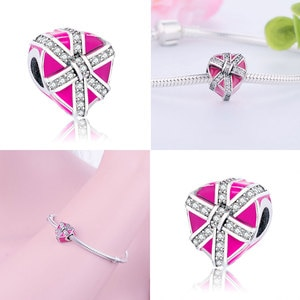 Fit Bracelet charms 925 Sterling Silver Pink Heart Enamel beads fit Jewelry for women Gift Original Bracelet For Women DIY sales